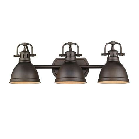 Golden Lighting Fixtures Golden Lighting Duncan Rubbed Bronze Three Light Vanity Fixture On Sale