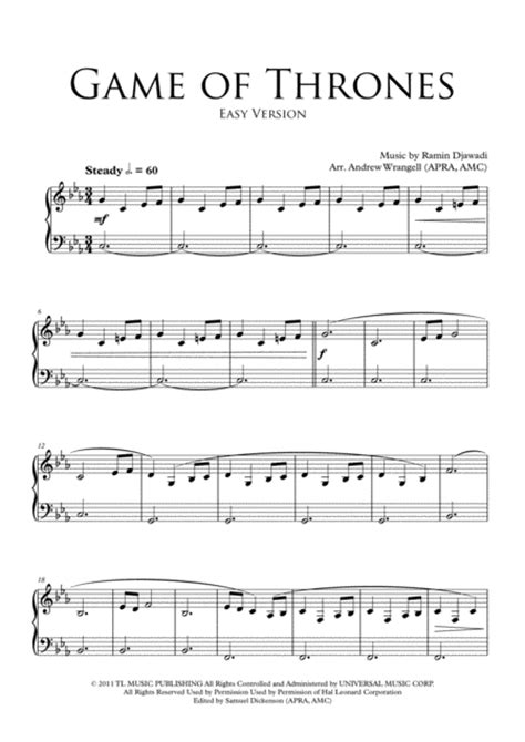 theme song game of thrones download game of thrones theme easy piano sheet music by
