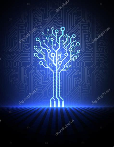 Electronic Tree - vector circuit board background with electronic tree
