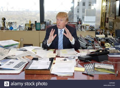 trump desk entrepreneur donald trump at his desk in his manhattan
