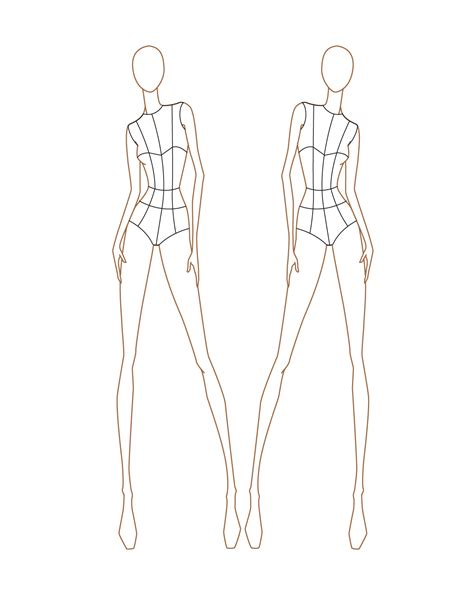fashion model template croquis on
