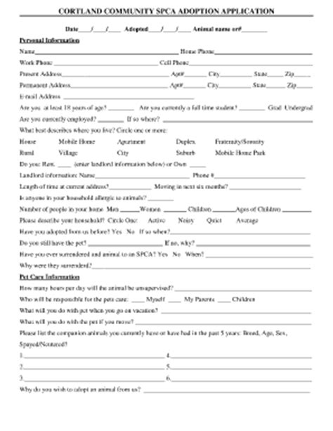 printable animal adoption forms cortland spca adoption fill online printable fillable