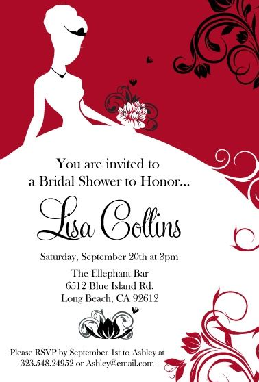 invite guests to shower but not wedding this and black bridal shower invitation makes a statement when your guests receive