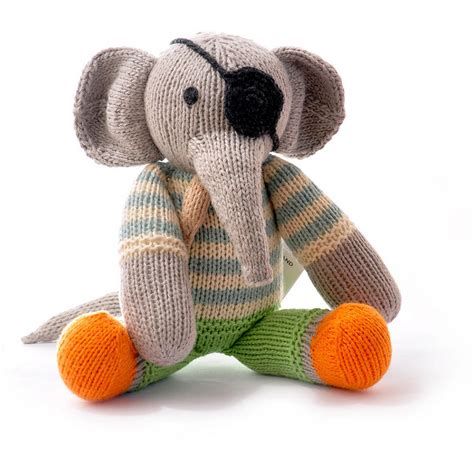 Handmade Knitted Toys - knitted elephant soft by chunkichilli