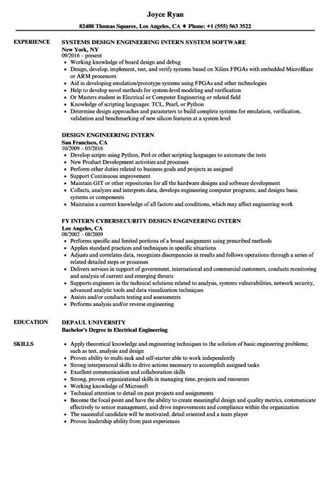 design engineer internship design engineering intern resume sles velvet jobs