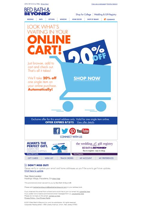 bed bath coupon online bed bath beyond abandoned cart email shopping cart