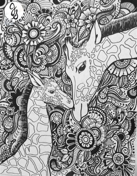 sketchbook of a zoo giraffe floral design
