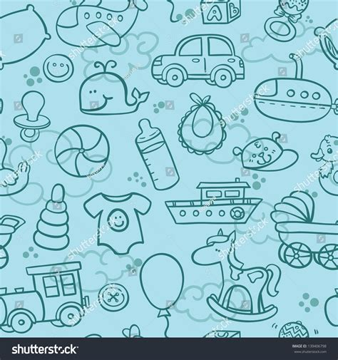 pattern drawing toy baby boy toys seamless pattern outline stock vector