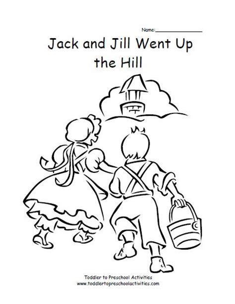 preschool coloring pages jack and jill jack and jill coloring page kids coloring pages pinterest