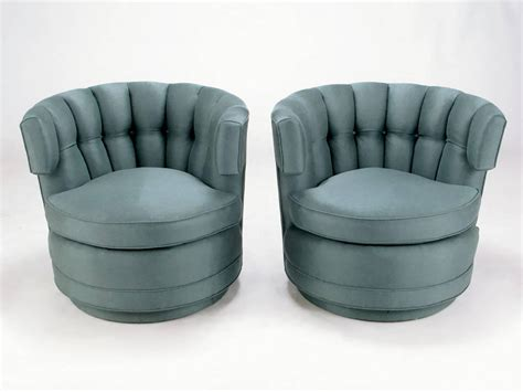 Pair Of Cadet Blue Wool Felt Button Tufted Swivel Barrel Swivel Barrel Chairs For Sale