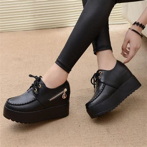 Kets Boots Sneakers White 2017 new black white wedge heels fashion s