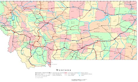 printable road maps montana printable map