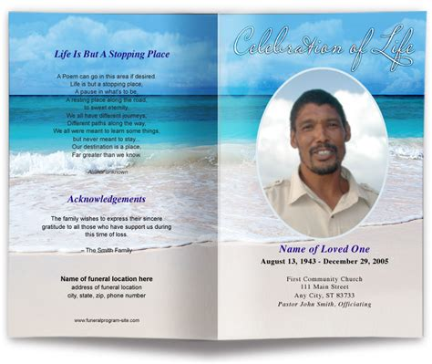 carribean beach scene funeral program template memorial