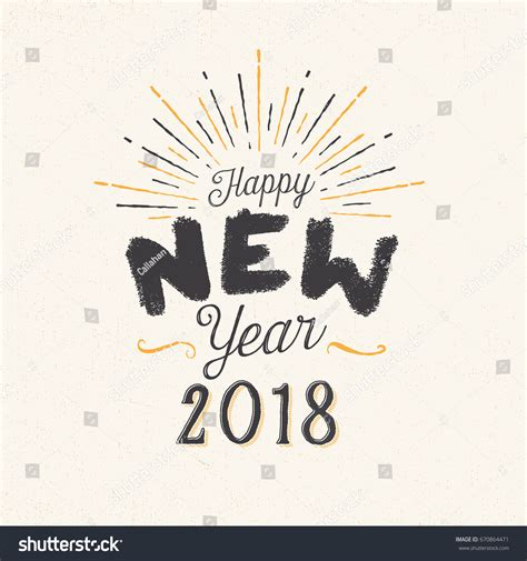 happy new year 2018 greeting card stock vector handmade style greeting card happy new stock vector