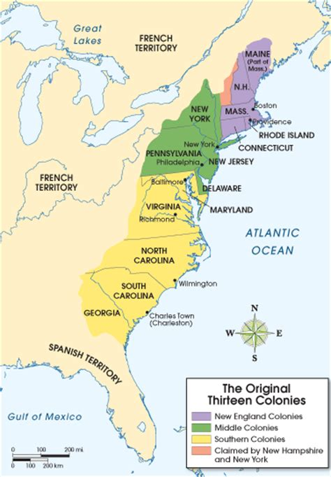 colonie map the middle colonies