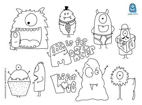 love monster coloring page free monster printable from mammasaurus printables