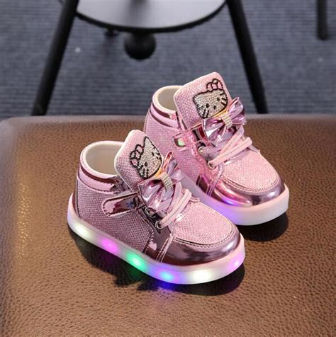 Hello Led Black Shoes Medium Size casual lighted shoes glowing sneakers children hello shoes with led light baby