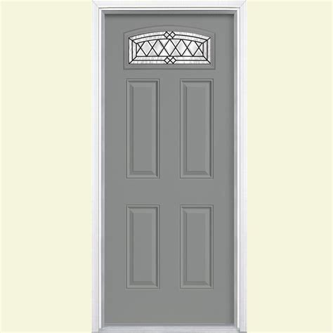 Masonite Doors Exterior Masonite 36 In X 80 In Halifax Camber Fanlite Painted Smooth Fiberglass Prehung Front Door