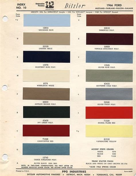 1966mustangcolorcodes 1966 mustang paint colors codes paint ideas paint color