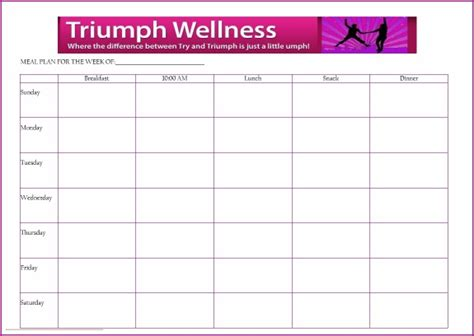 meal planner for weight loss template free meal planning template triumph wellness fuhrman