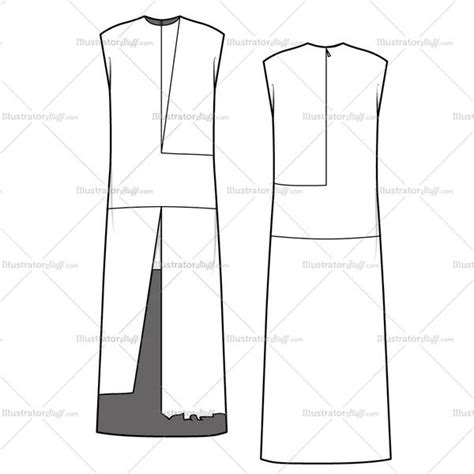 dress template for adobe illustrator women s colorblock tunic dress fashion flat template