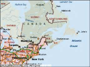 east coast canada map