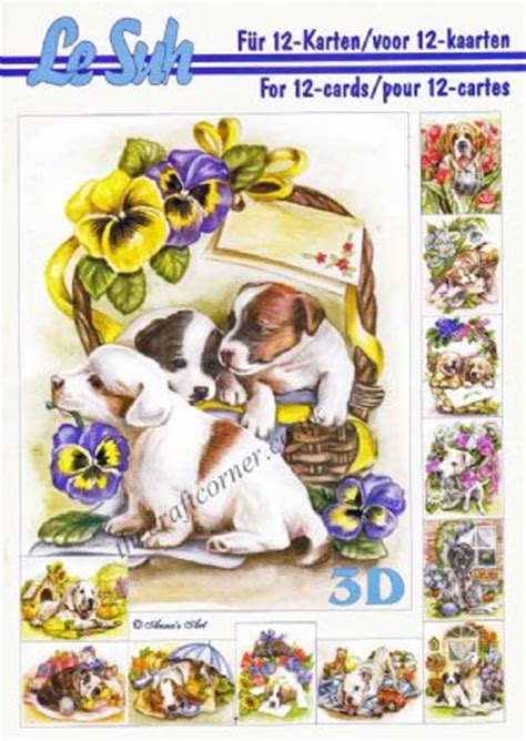 Le Suh Decoupage - puppy thinking of you designs die cut 3d decoupage 2