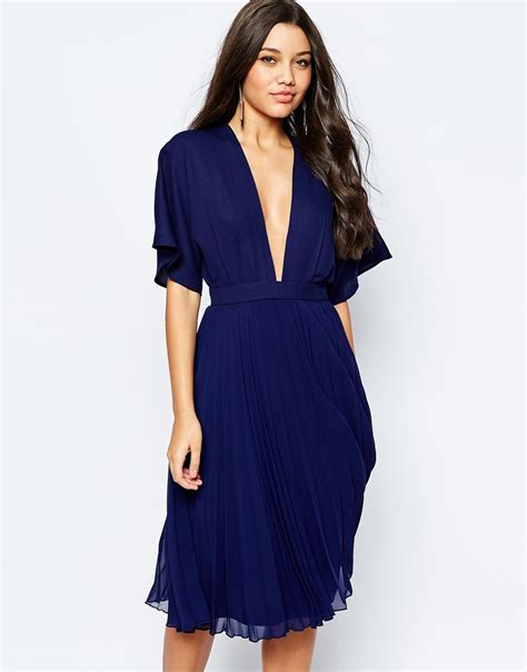 Pleated Sleeve Midi Dress asos kimono sleeve pleated midi dress navy in blue lyst