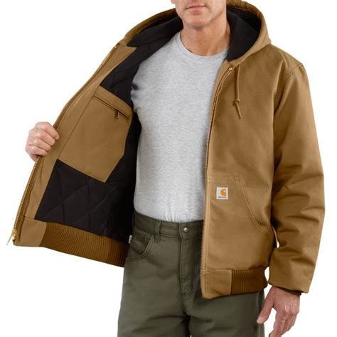 Carhartt Quilted Flannel Lined Duck Active Jacket by Carhartt J140 Duck Active Jacket Quilted Flannel Lined