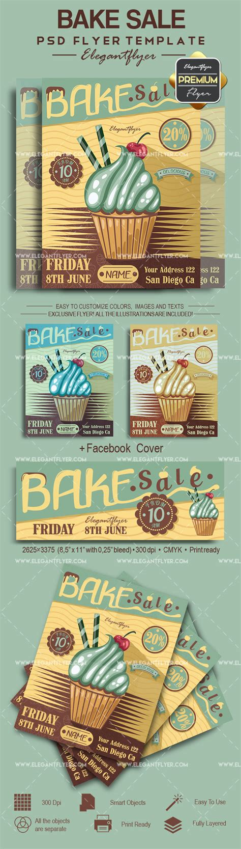 Bake Sale Psd Poster By Elegantflyer Bake Sale Flyer Template