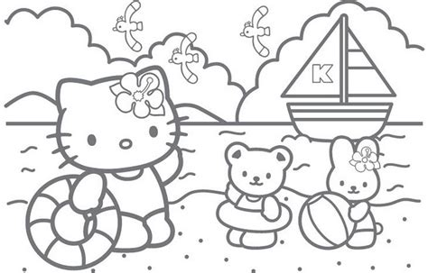 hello kitty beach coloring page 為孩子們的著色頁 hello kitty in the beach
