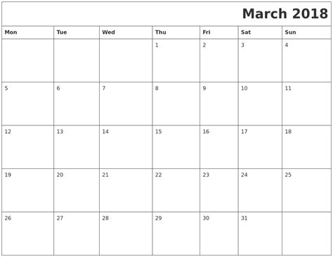 printable monthly calendar 2018 monday start march 2018 printable calender