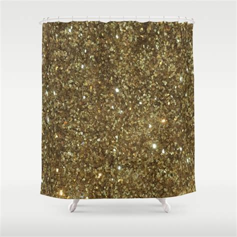 Gold Glitter Shower Curtain