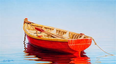 fishing boat art work red boat art and curator