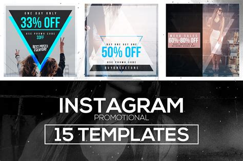 15 Instagram Templates Vol 1 Promo Instagram Templates Creative Market Instagram Ad Template