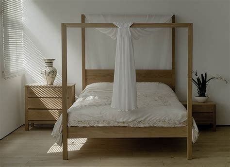 zebrano cube 4 poster bed natural bed company bohemian bedroom style inspiration natural bed company