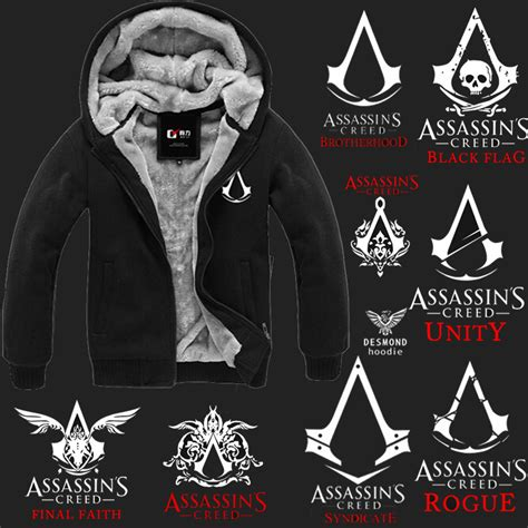 assasin s creed winter fleece lined hoodie black assassins creed store