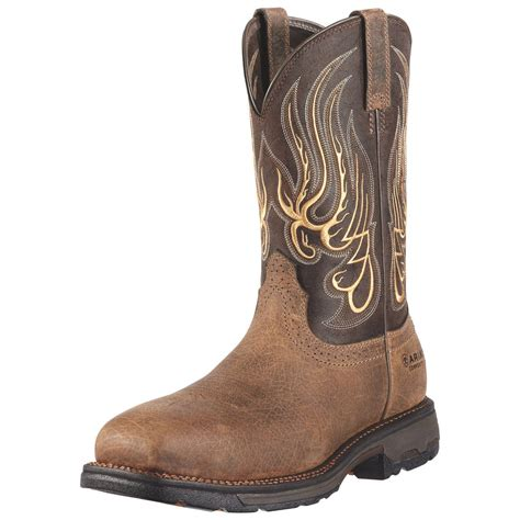 ariat mens boots square toe ariat mens workhog square toe mesteno comp toe work boots