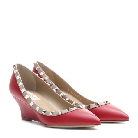 Wedges On 02 2 valentino rockstud leather wedge pumps in lyst
