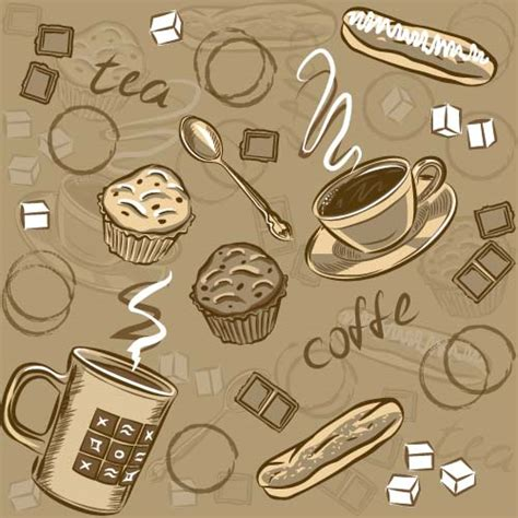 pattern coffee vector coffee cup and spoon vintage vector pattern 01 vector