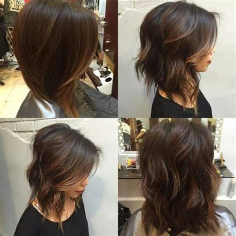 A Line With Subtle Balyage Highlights Hair Balyage   subtle a line lob with balayage highlights hair