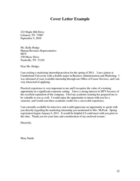 request letter for internship internship cover letter sle and writing tips