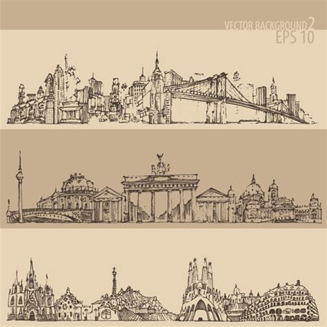 city background drawing drawing city retro background vector 02 vector