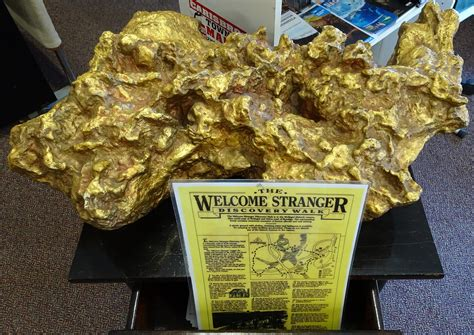 real gold plates discovered across the world dunolly replica of the welcome stranger gold nugger found