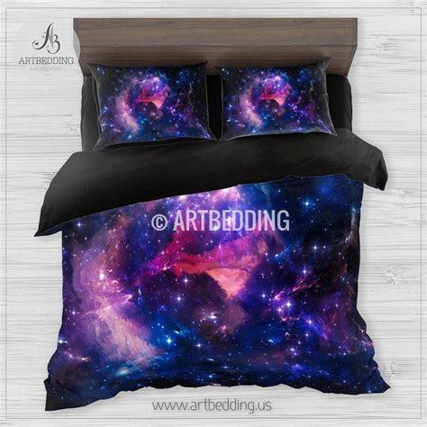 Deep Space Bedding Set Blue Purple Nebula Clouds With Nebula Bedding Set