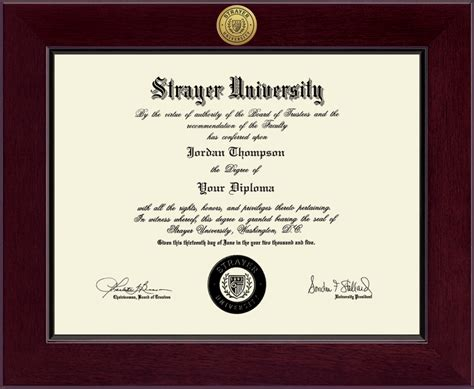 Strayer Mba Degree Programs by Strayer Century Gold Engraved Diploma Frame In