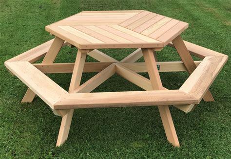 person hexagonal cedar picnic table  parquet style top