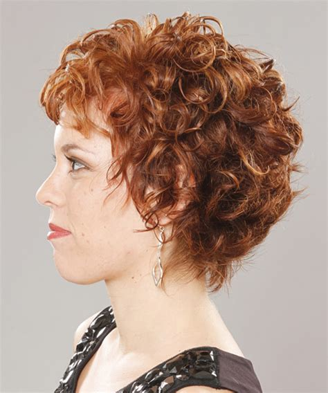 formal short curly hairstyle  layered bangs ginger