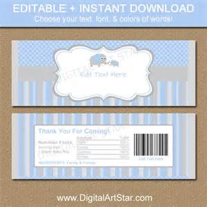 baby shower chocolate bar wrappers blue gray elephant candy