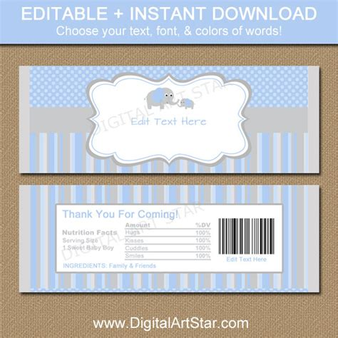 baby shower chocolate bar wrappers blue gray elephant